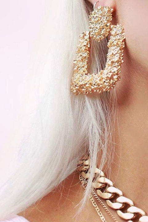 Statement Oversized Square Gold Door Knocker Earrings