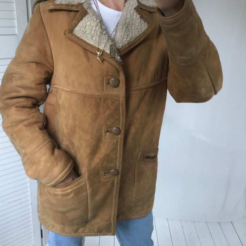 Vintage 1970s 100% Real Suede Tan Sheepskin Style Winter Jacket