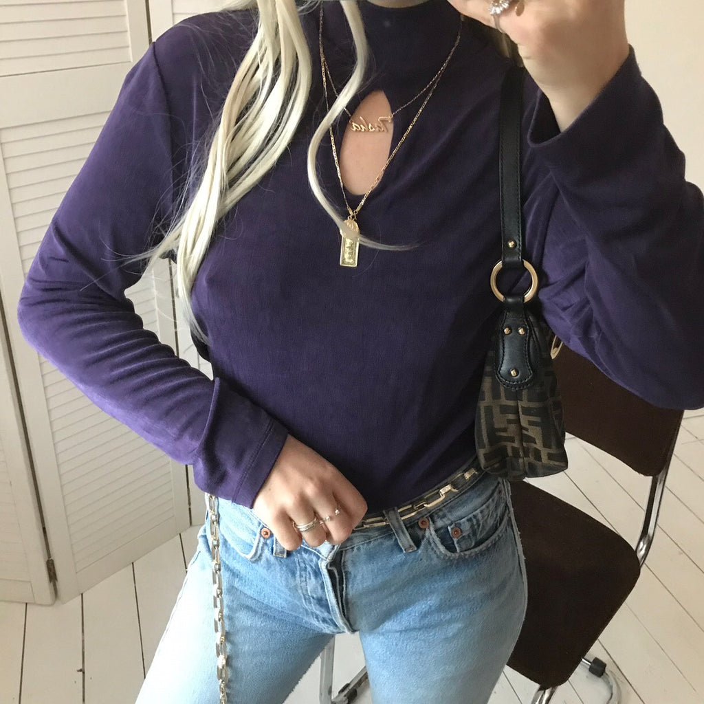 Vintage 90s Dark Purple Top With Peep Hole