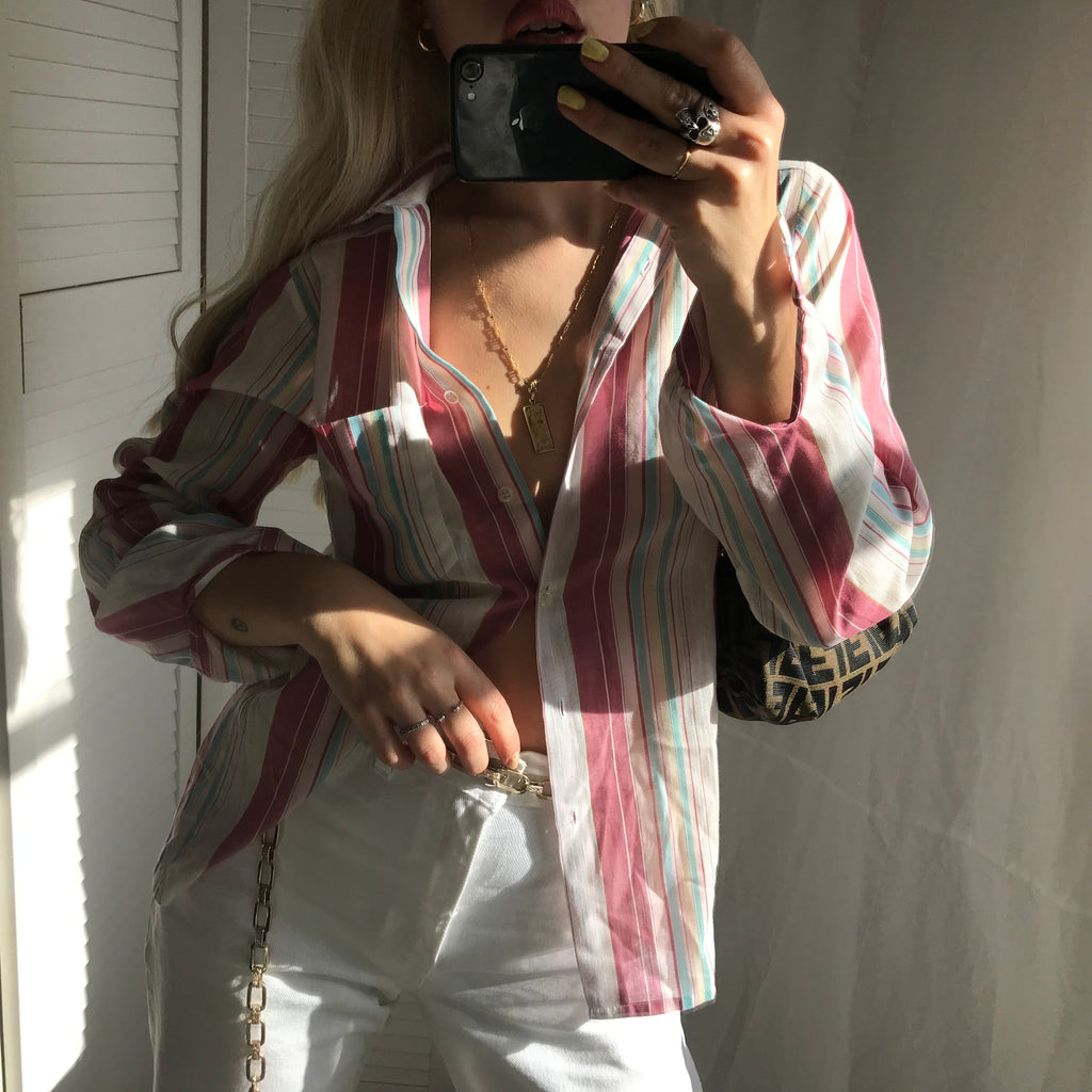 Vintage True 1970s Colourful Pastels Striped Thin Shirt