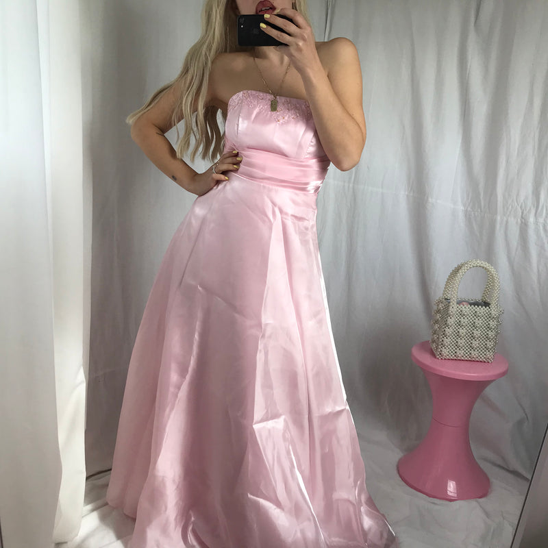 Vintage 90s Y2K Baby Pink Satin Prom dress Sweet 16