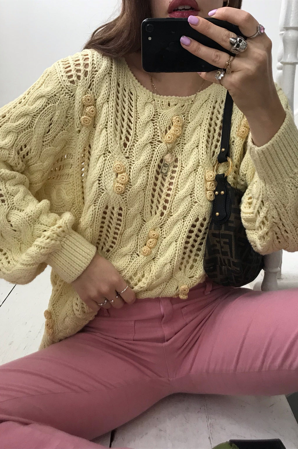 Vintage 80s Pastel Yellow Cable Knit Funky Knitted Jumper With Roses