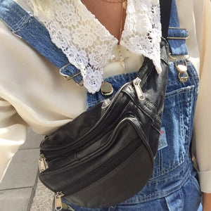 'Deadstock' Vintage 90s Y2K Black Leather Bumbag Crossbody