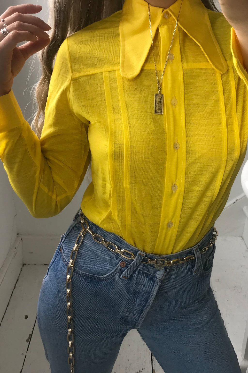 True Vintage 1970s Deadstock Canary Yellow Fitted Shirt With Oversized Statement Collar
