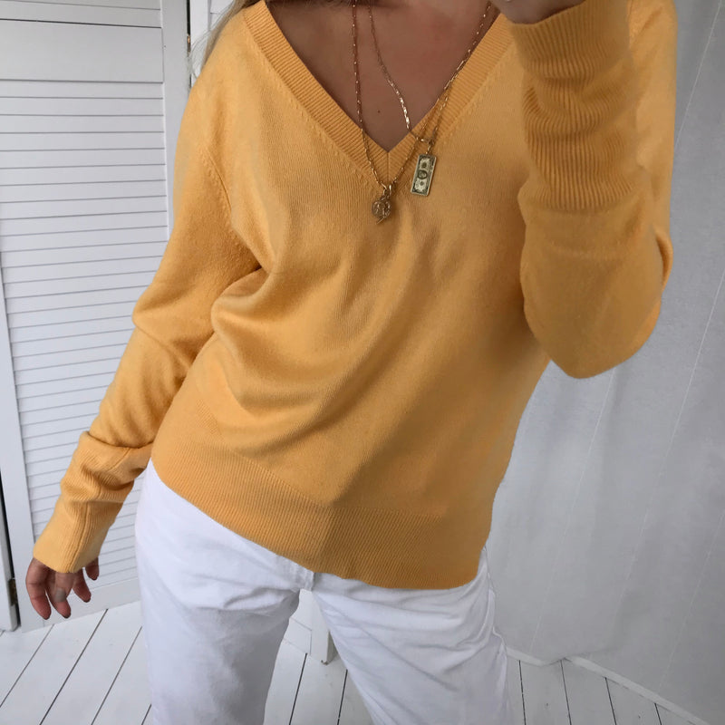 Vintage Y2K Yellow Fine Knit Acrylic V-Neck Jumper Top