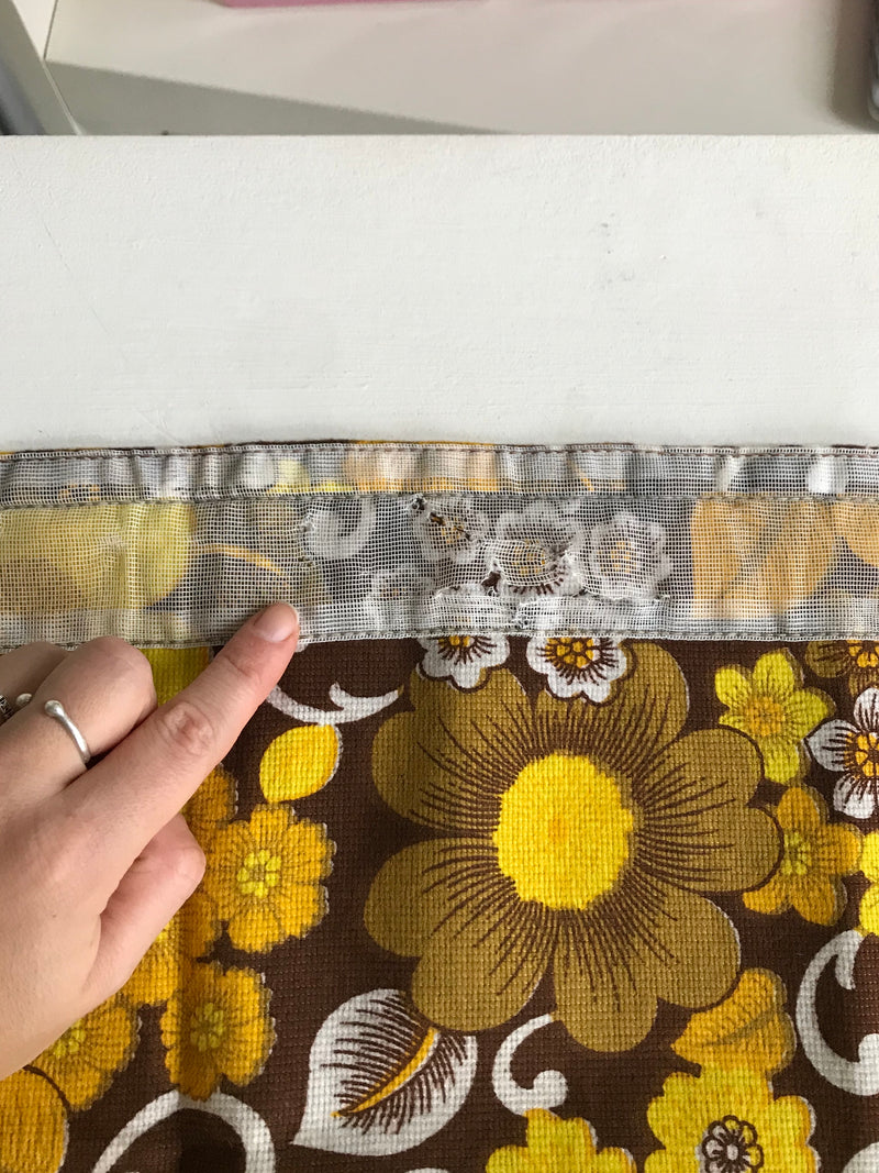 Vintage 1970s Brown & Yellow Floral Short Panel Curtain With Pom Pom Trim