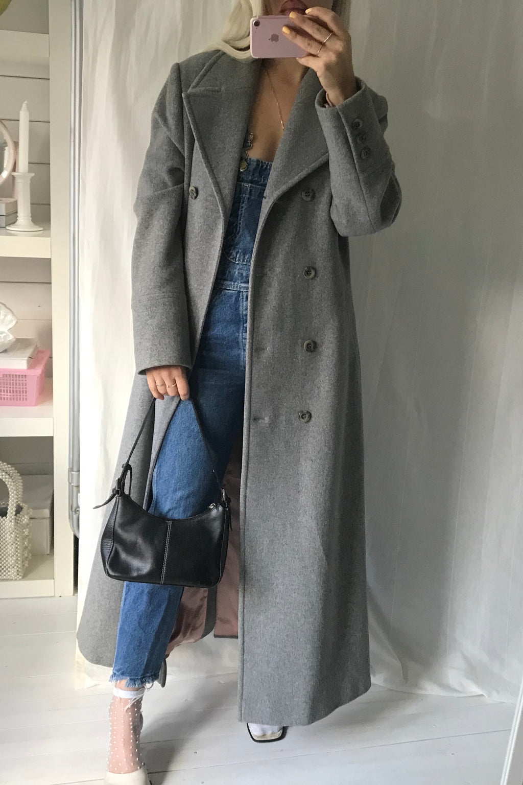 Vintage 1990s Grey Wool Long Trench Coat