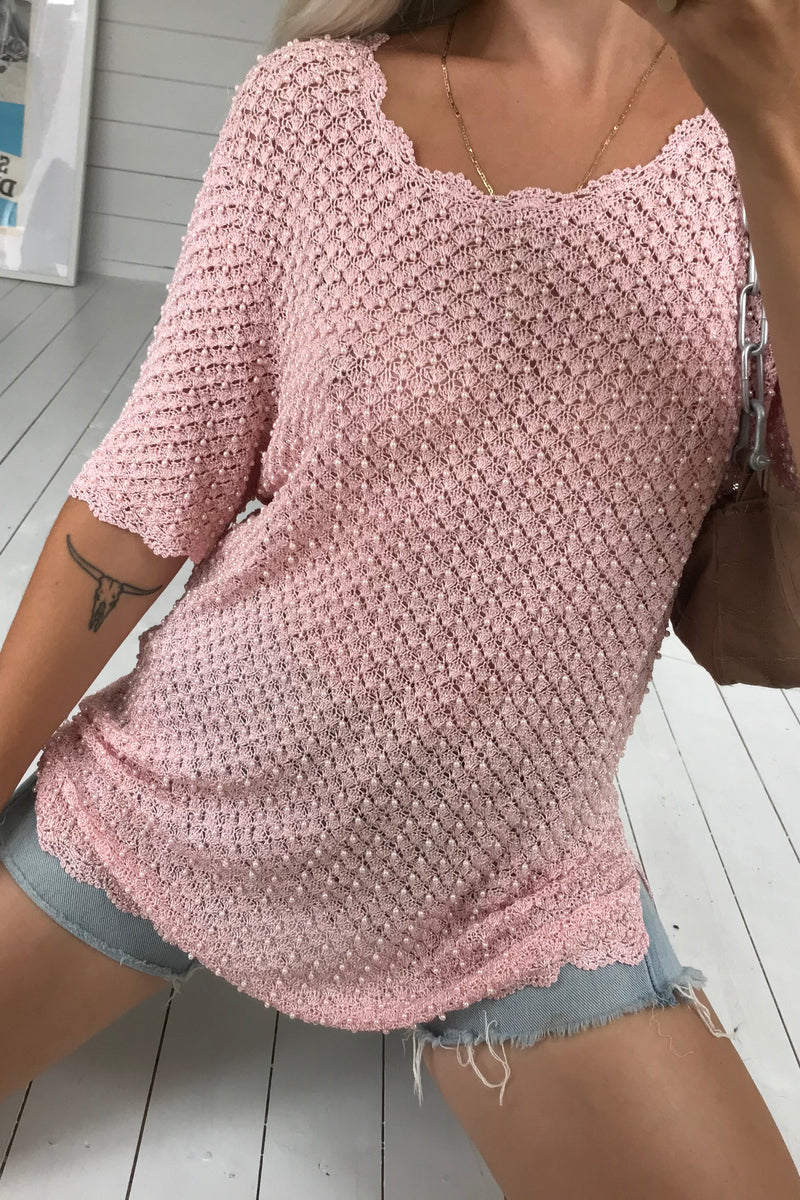 Vintage 90s Oversized Texturised Baby Pink Beaded Crochet Top