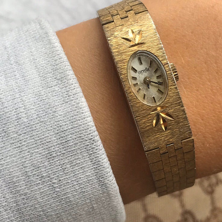 Vintage 1960s Gold Tone Ladies Wind Up Wrist Watch With Brushed Gold Link Strap  - By Corevette