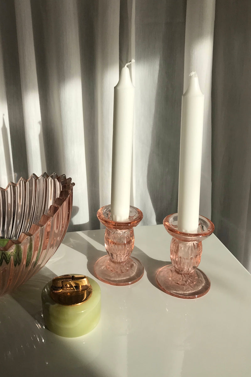 Vintage Mid Century Peach Cut Glass Candlestick Holders