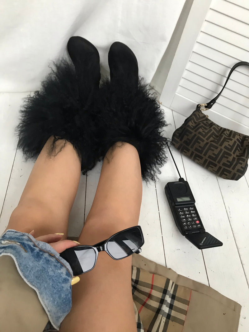 Vintage 90s Y2K Black Suede Ankle Boots With Mongolian Fur Trim