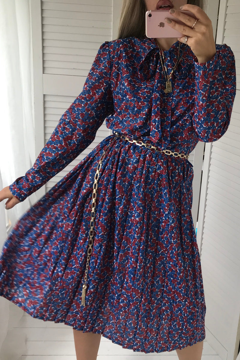 Vintage 80s Blue & Red Floral Pleated Midi Dress With Pussy Bow