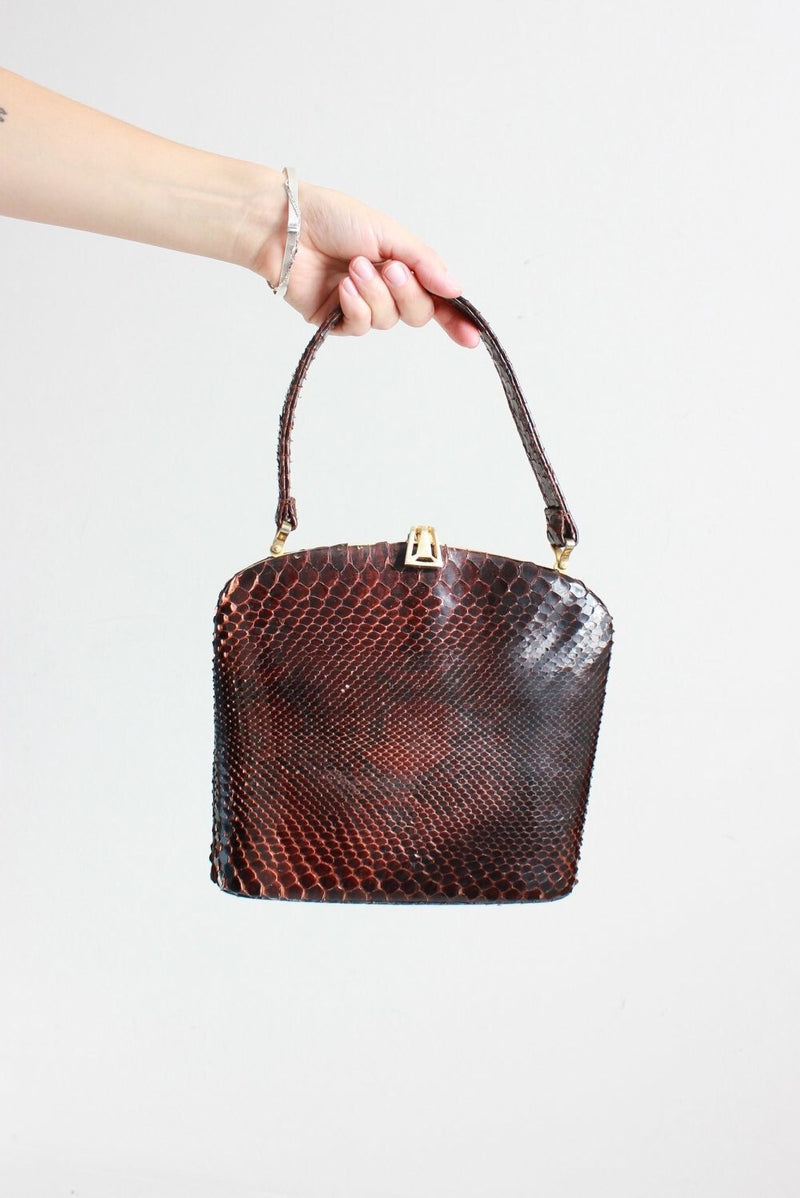 Vintage 50s Brown Real Snakeskin Top Handle Handbag