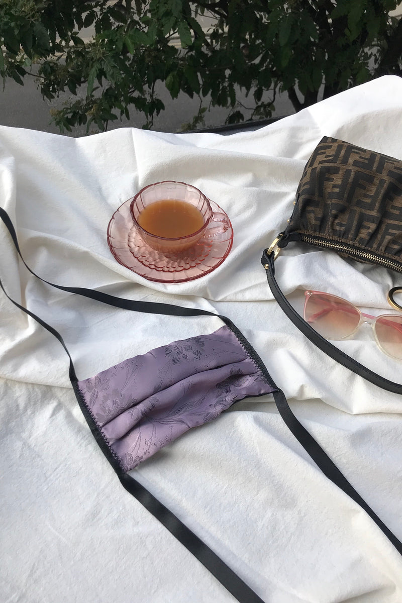 Luxury Pleated Face Mask In Satin Floral Lilac