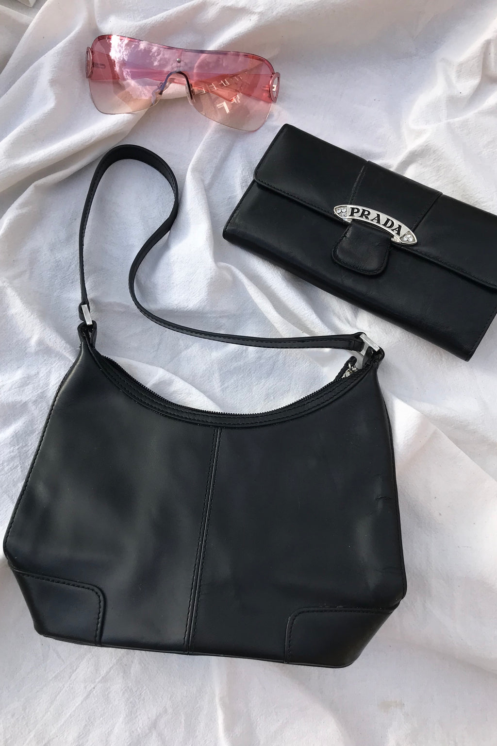 Vintage 90s Y2K Black Leather Mini Handbag