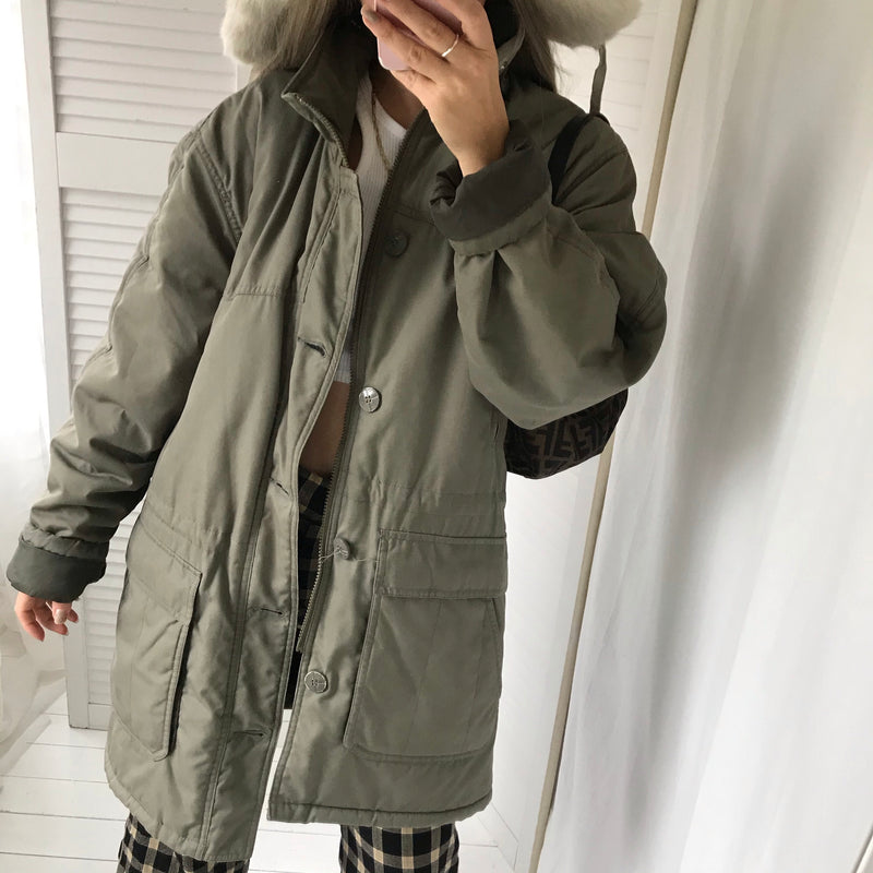 Vintage 90s Army Green  Oversized Padded Military Jacket With Fleece Lining