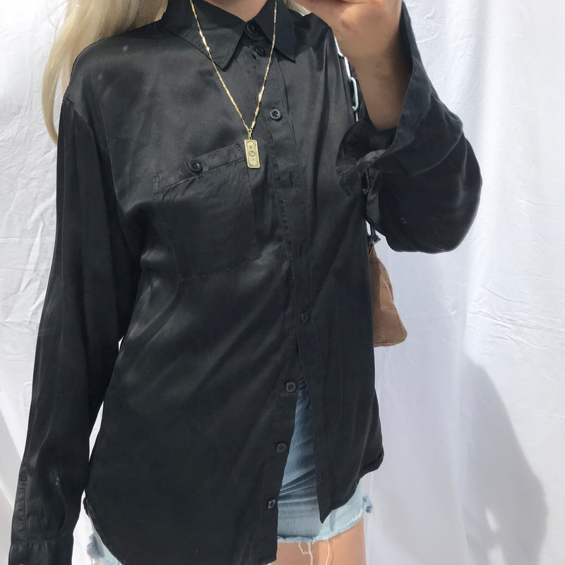 Vintage Y2K Black Real Silk Oversized Shirt Blouse