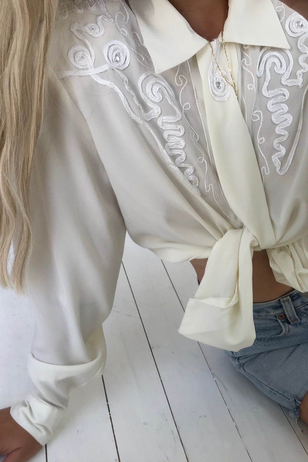 Vintage 80s Western Style Cream Ribbon Embroidered Blouse With Diamanté Detail