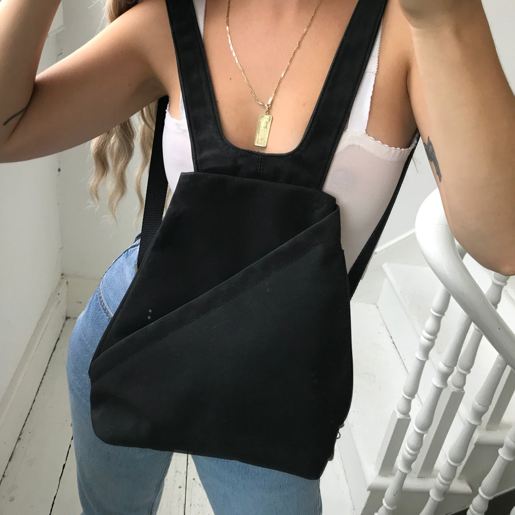 Vintage 90s Black Nylon Rucksack Backpack