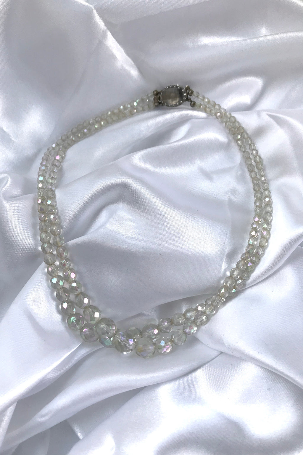 Vintage 1960s Iridescent Clear Plastic Beaded Necklace
