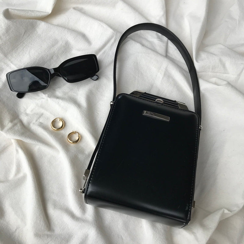 Vintage 90s Y2K Black Leather Feel Mini Handbag With Silver Metal Detail By Babila
