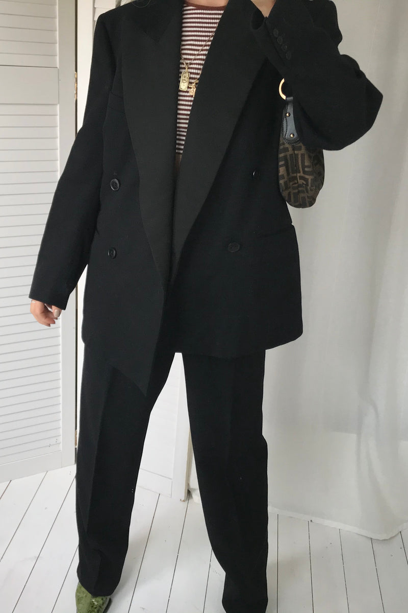 Premium Vintage 70s Men's Black Wool 2 Piece Dinner Suit With Tapered Trousers & Double Breasted Blazer Jacket