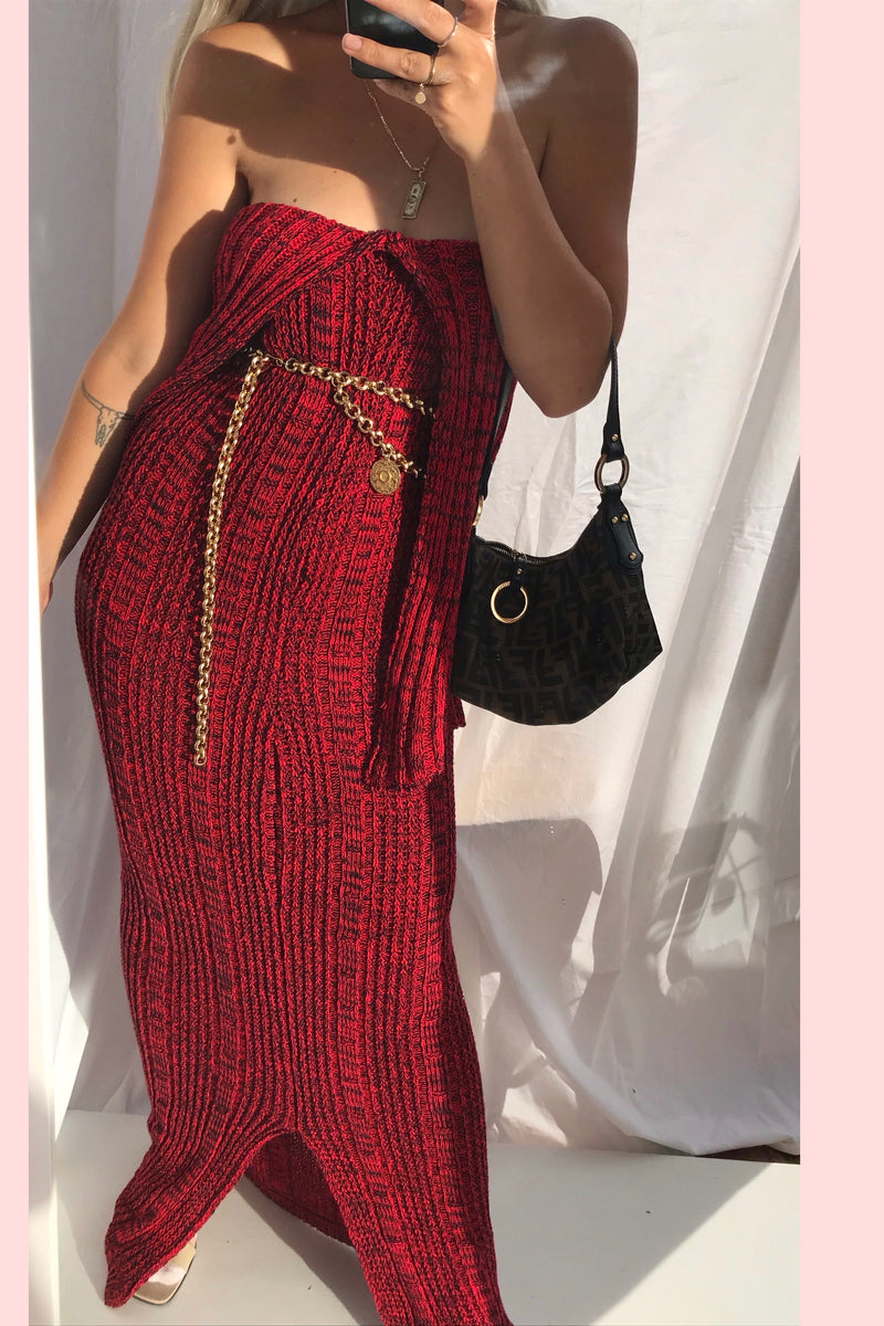 Vintage 70s Long Red & Black Hand Knitted Tube Dress