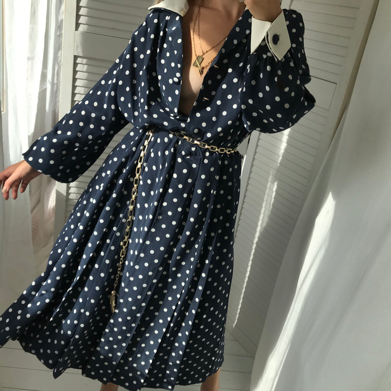 Vintage 1980s Navy Blue Polka Dot Midi Dress With Detachable White Collar & Cuffs