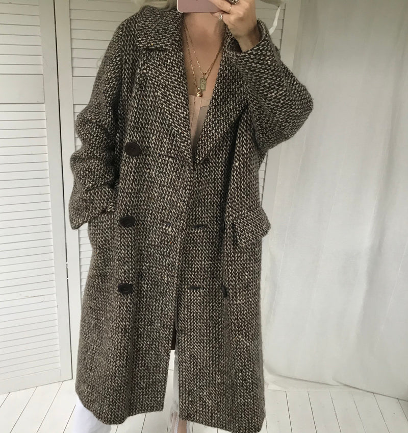 Vintage 1970s Woven Wool Double Breasted Overcoat