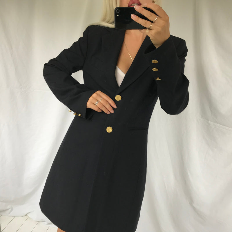 The most perfect Vintage 90s Dark Navy Blue Wool Long Lined Blazer Jacket