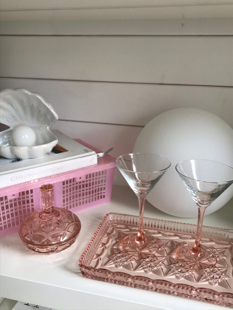 Vintage 1930s Pink Cut Depression Glass Vanity Dish & Trinket Pot Set
