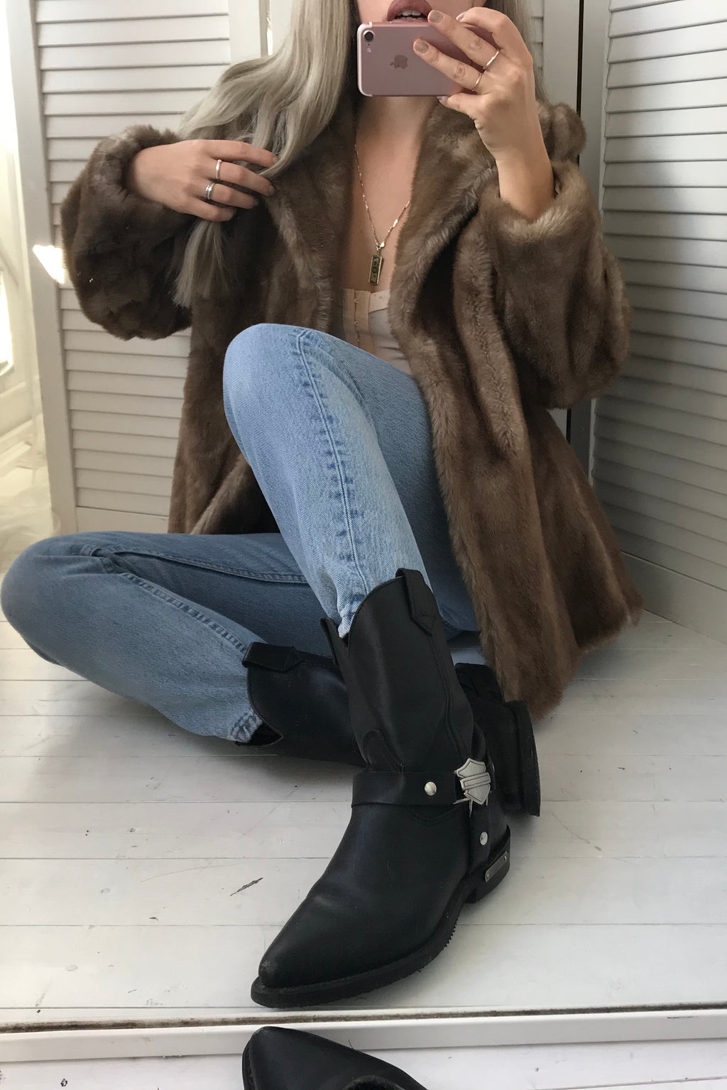 Vintage 70s Brown Faux Mink Simulation Fur Jacket