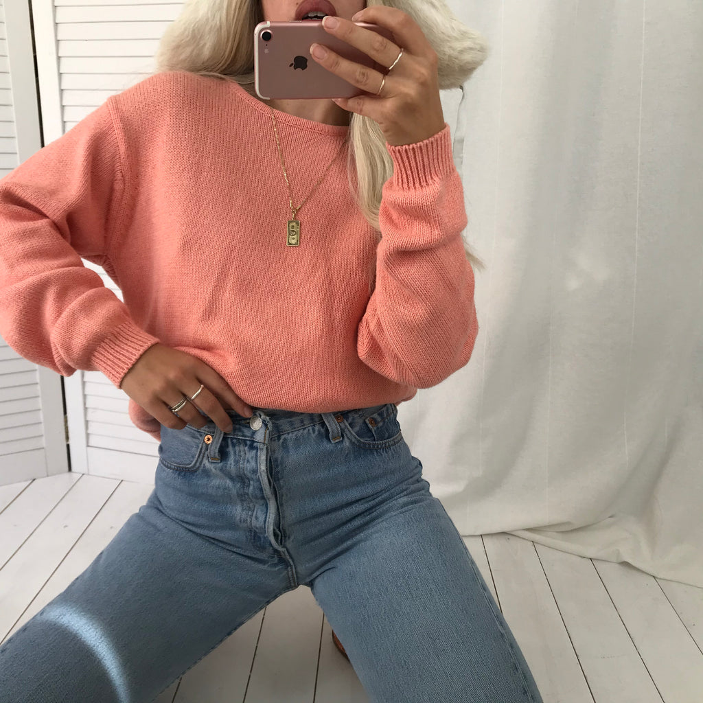 Vintage Y2K Peach Chunky Knitted 100% Cotton Jumper