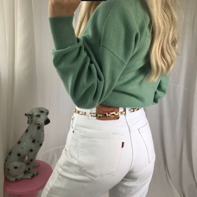 Vintage 90s Mint Green Pure Lambswool Crew Neck Fine Knit Jumper