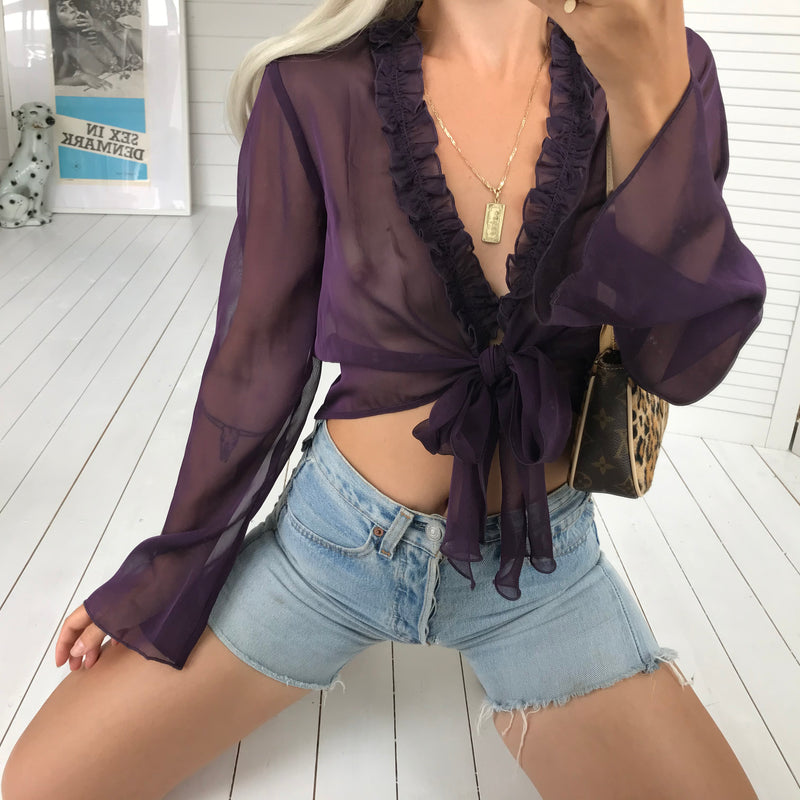 Vintage Y2K Purple Plum Sheer Cropped Tie Up Blouse With Ruffle Trim