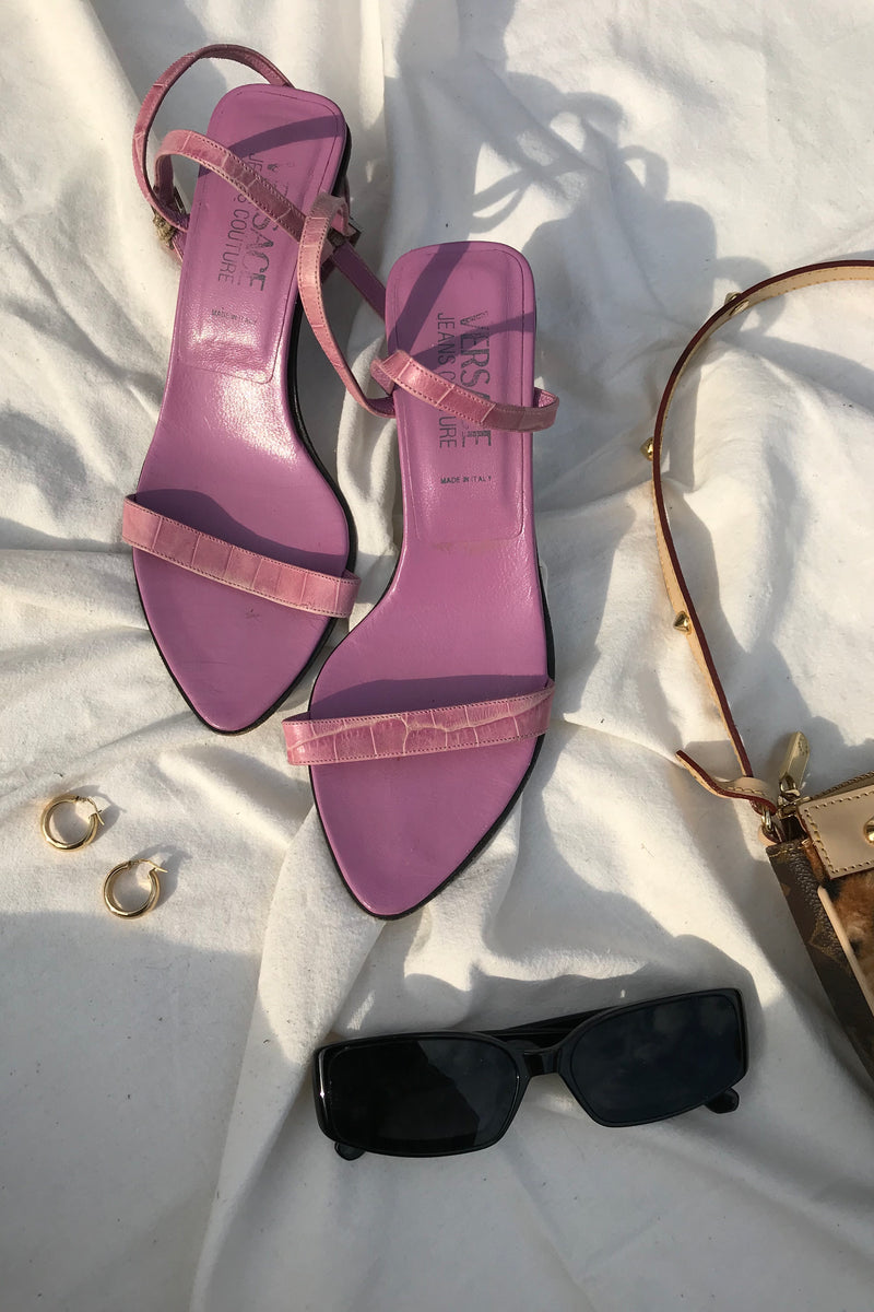 Vintage 90s Versace Jeans Couture Purple Snakeskin Print Strappy Heels