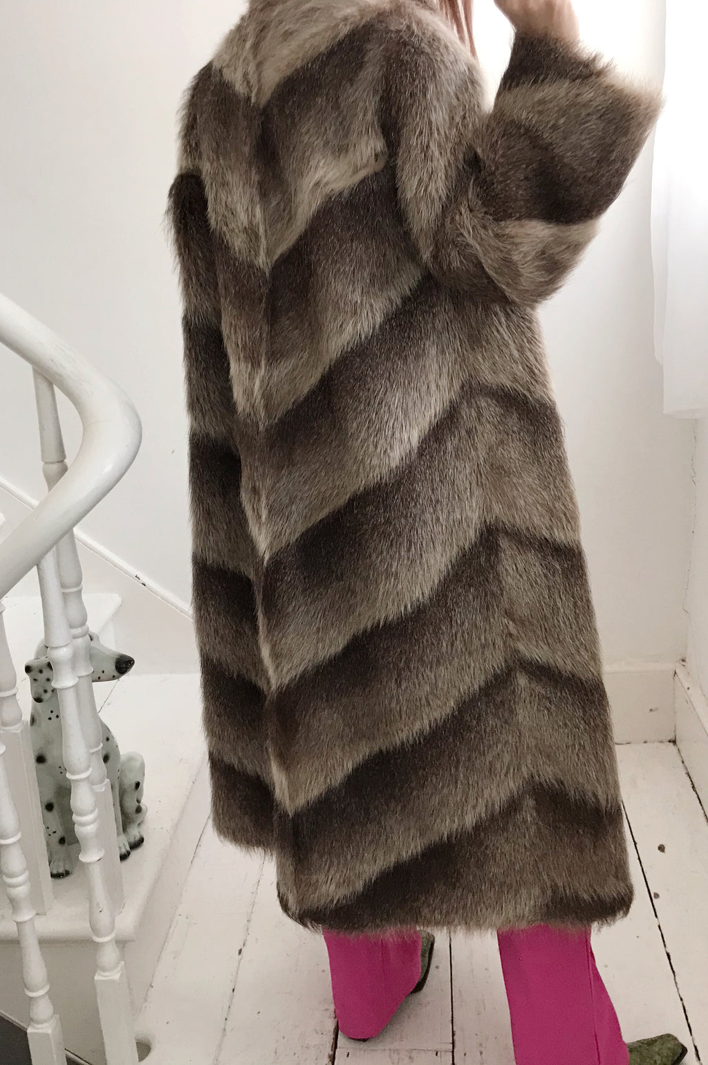 Premium 1950s Brown Long Ombré Real Fur Coat