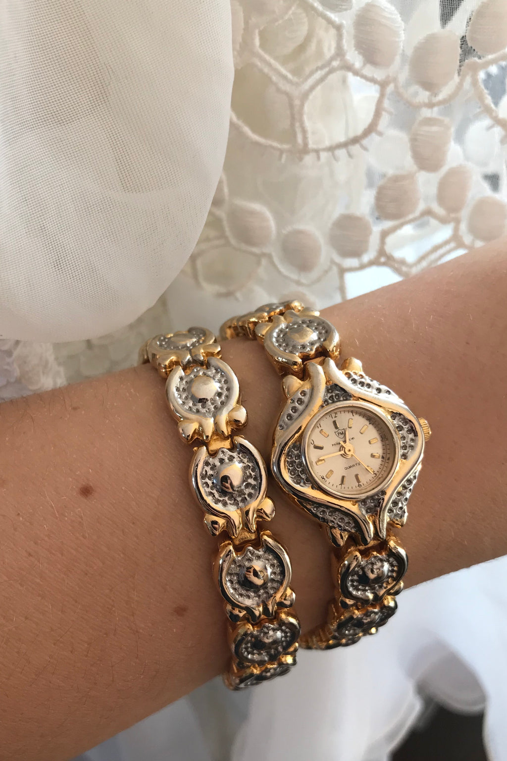 Vintage 1980s Phillip Mercier 18k Gold Plated Quartz Gold & Silver Tone Watch & Bracelet Set
