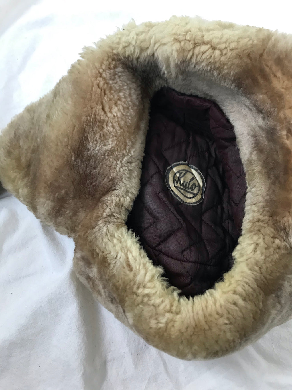 Vintage 1970s Brown & Cream Sheepskin Shearling Ushanka Fur Trapper Hat