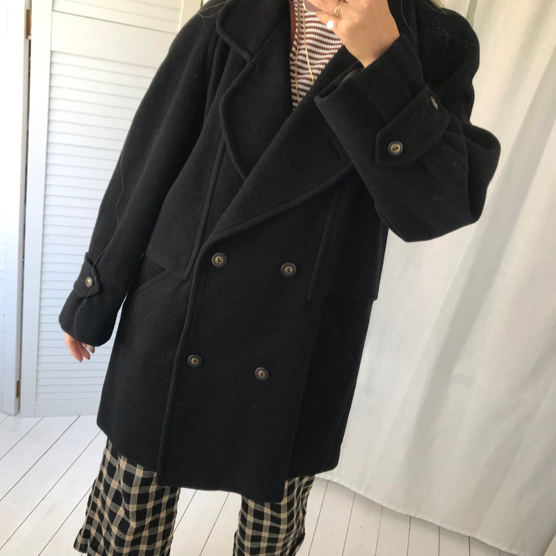 The most incredible Vintage 80s Black Real Wool Jacket