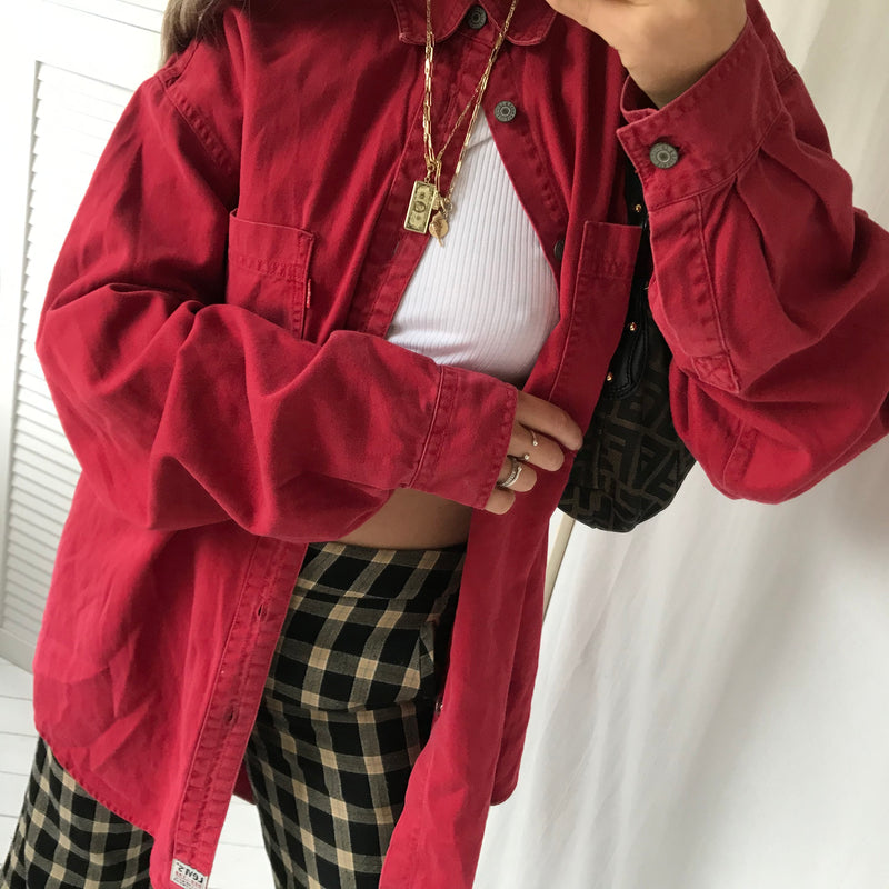 Vintage 90s Red Cotton 'Red Tab' Levis Oversized Shirt