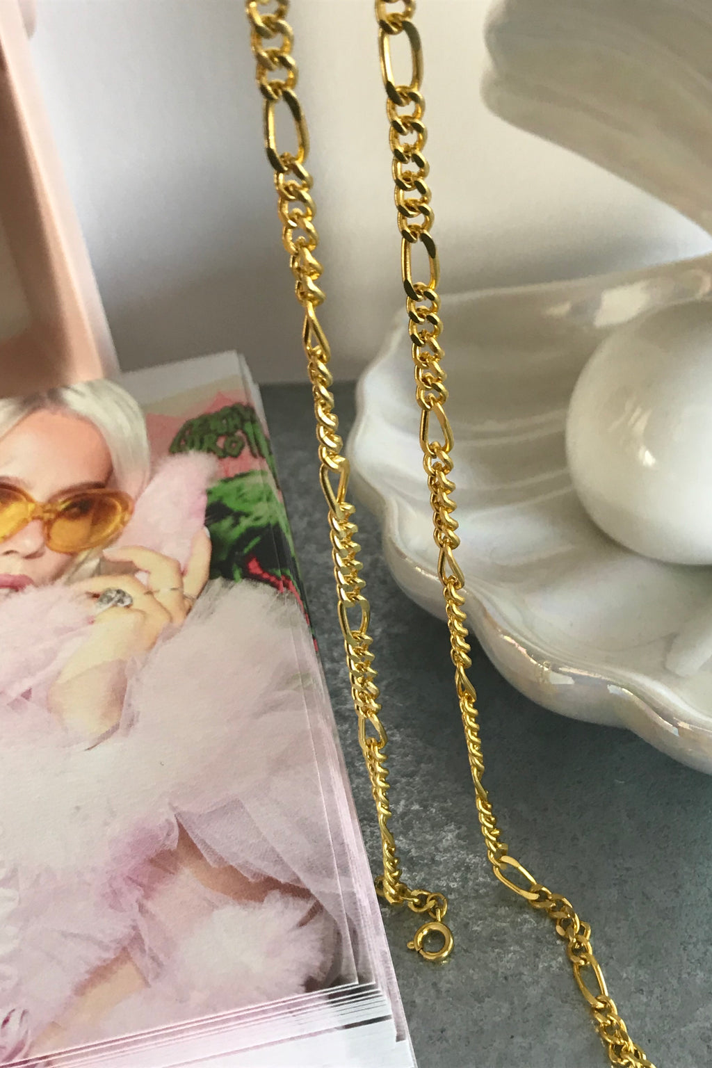 Vintage 90s Chunky Yellow Gold Tone Chain Necklace