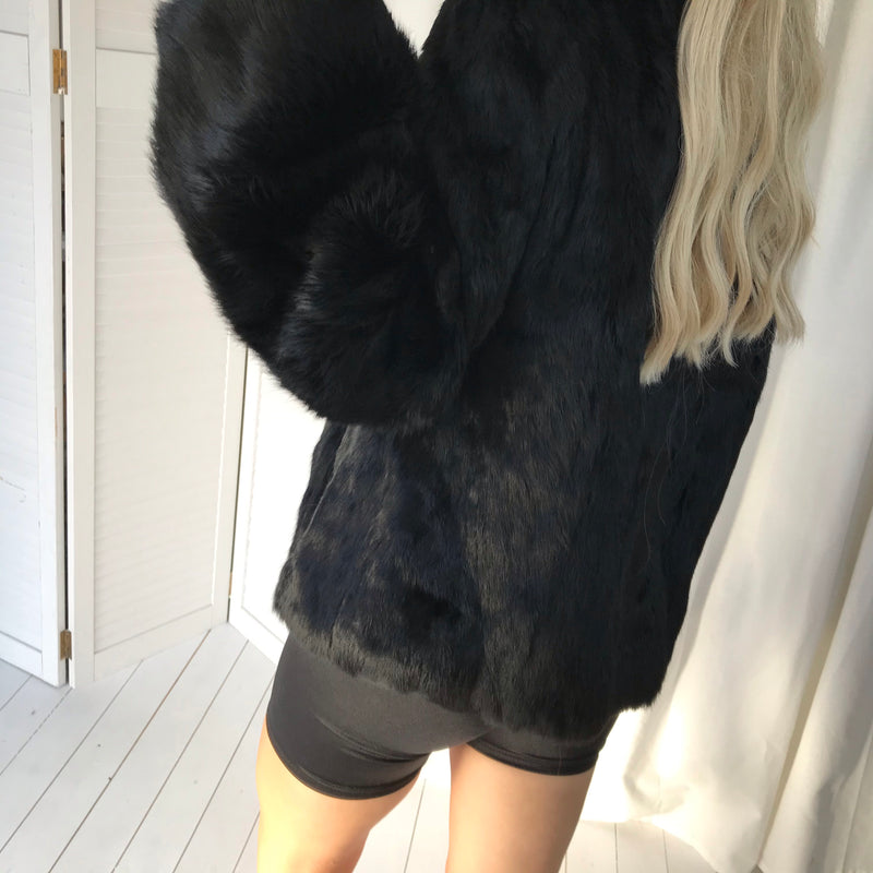 The most amazing Super Stunning Premium Vintage 1970s Real Coney Fur Jet Black Jacket