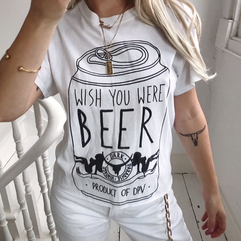 'Wish you were beer' T-Shirt By Dark Paradise Vintage