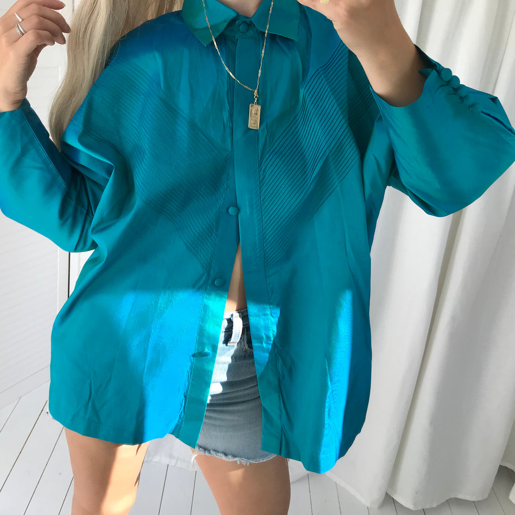Vintage 80s Turquoise 100% Silk Western Style Batwing Shirt