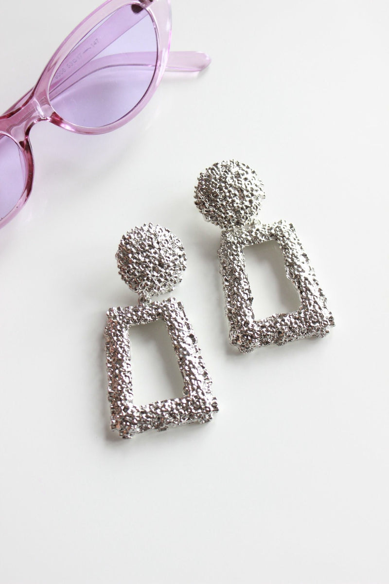 Statement Oversized Silver Door Knocker Earrings