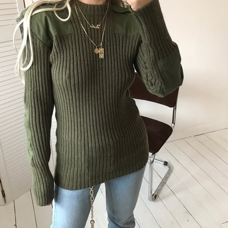 Vintage 90s Moss Green Ribbed Wool Military Jumper With Shoulder Tags and Elbow Pads