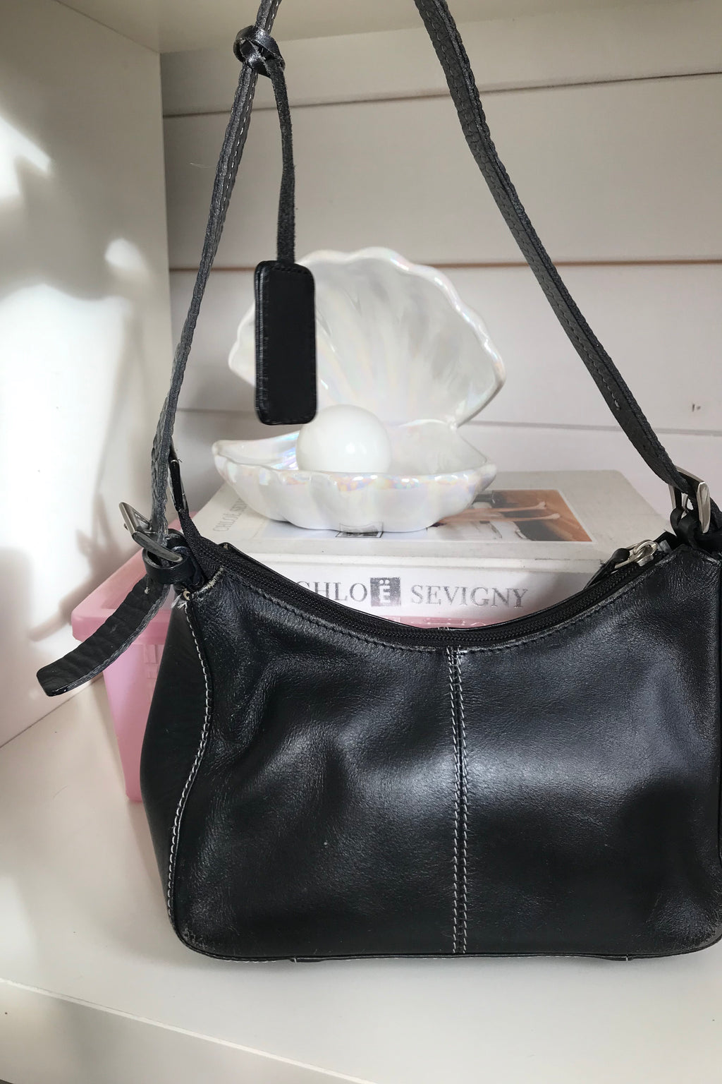 Vintage 90s black leather Mini handbag