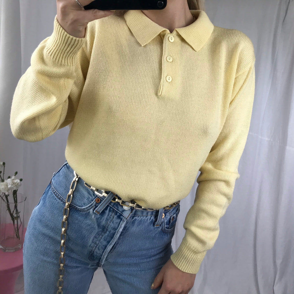 Vintage 90s Pastel Yellow Fine Knit Jumper Top With Polo Neck By Damart