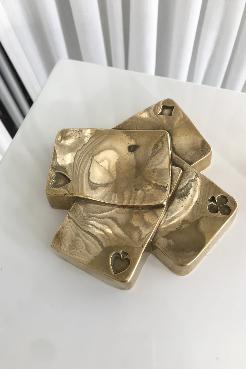 Vintage 1980s 100% Brass Playing Cards Ashtray